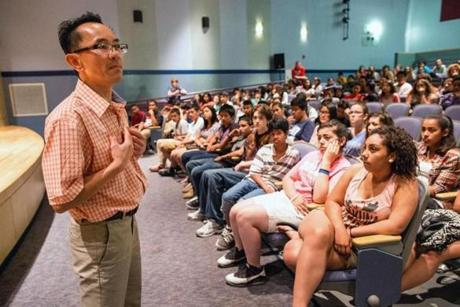 Seng Ty spoke to eighth-grade students about his experiences living in 1970s Cambodia.